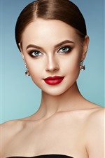 Preview iPhone wallpaper Blue eyes fashion girl, makeup, earring, red lip