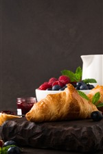 Preview iPhone wallpaper Breakfast, croissant, blueberry, raspberry, jam