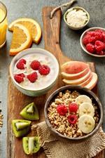 Preview iPhone wallpaper Breakfast, muesli, raspberry, kiwi, apples, orange juice