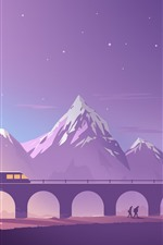 Preview iPhone wallpaper Bridge, train, mountains, vector art picture