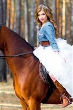 Brown hair girl, white skirt, horse