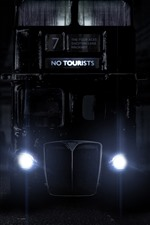 Bus, front view, headlight, night