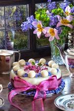 미리보기 iPhone 배경 화면 케이크, 꽃, 차, 램프, 창문, 서적, 정물