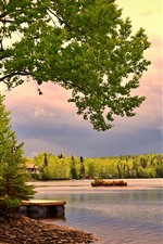 Preview iPhone wallpaper Canada, lake, trees, house, clouds, dusk