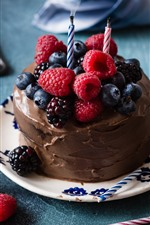 Preview iPhone wallpaper Chocolate cake, berries, candles