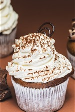 Preview iPhone wallpaper Chocolate cake, cream, cupcakes