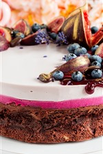 Preview iPhone wallpaper Chocolate cake, figs, blueberries