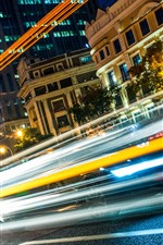 Preview iPhone wallpaper City, light lines, speed, cars, night