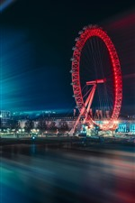Preview iPhone wallpaper City, night, ferris wheel, light lines, river