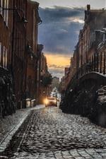 Preview iPhone wallpaper City, rain, road, buildings
