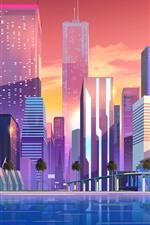 iPhone обои Город, небоскребы, векторное изображение