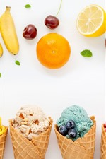 Preview iPhone wallpaper Colorful ice cream, fruit, banana, apple, orange, cherry, blueberry