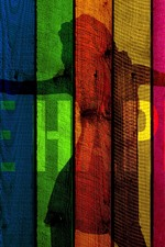 Preview iPhone wallpaper Colorful wooden board, painting, silhouette