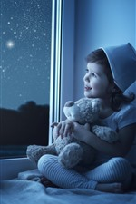 Preview iPhone wallpaper Cute little girl look out window, child, moon, stars