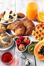 Delicious food, muesli, bread, apple, banana, orange, coffee, milk, cookie