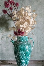 Preview iPhone wallpaper Dry flowers, vase, wall, dust