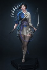 Preview iPhone wallpaper Fantasy Asian girl, short hair, bow, archer
