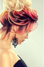 Preview iPhone wallpaper Fashion girl, hairstyle, colors, side view