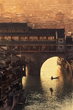 Preview iPhone wallpaper Fenghuang County, Xiangxi, Hunan, village, bridge, river, retro