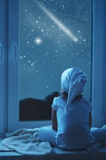 Preview iPhone wallpaper Girl and teddy look out the window, night, stars, moon