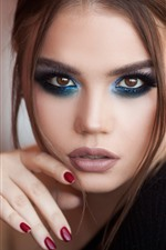 Girl, face, makeup, brown hair