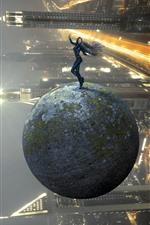 Menina, pose, bola, futuro, arranha-céus, imagem criativa