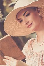 Preview iPhone wallpaper Girl reading book, hat, skirt, summer