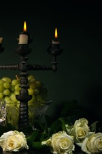 Preview iPhone wallpaper Green grapes, white roses, candles, flame, glass cups