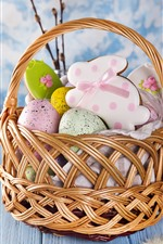 Preview iPhone wallpaper Happy Easter, basket, colorful eggs, rabbit shape cookies