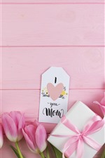 Preview iPhone wallpaper Happy Mothers Day, pink tulips and gift