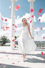 Happy blonde girl, white skirt, bride, roses