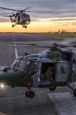 미리보기 iPhone 배경 화면 헬리콥터, 활주로, 공항, 일몰