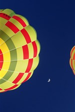 Preview iPhone wallpaper Hot air balloon, blue sky, moon