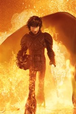 Preview iPhone wallpaper How to Train Your Dragon 3, fire, sword