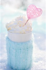 Preview iPhone wallpaper Ice cream, love heart, cup, winter