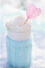 Ice cream, love heart, cup, winter