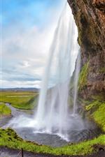 Iceland, Seljalandsfoss, beautiful waterfall, nature landscape
