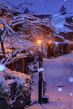 Preview iPhone wallpaper Japan, Kyoto, houses, snow, trees, night, lights