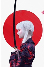 Preview iPhone wallpaper Japanese girl, kimono, sakura, sword, art picture