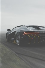 Preview iPhone wallpaper Lamborghini, black supercar back view, fog
