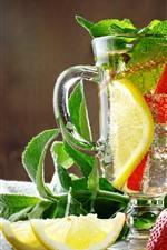 Preview iPhone wallpaper Lemonade, drinks, lemon, strawberry