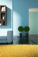 iPhone обои Гостиная, диван, растения, книга, деревянный пол, дизайн