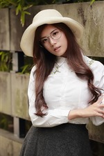 Preview iPhone wallpaper Long hair Asian girl, hat, glasses