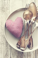 Preview iPhone wallpaper Love heart, spoon, fork