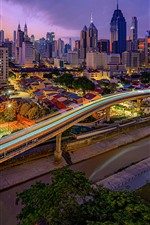 Preview iPhone wallpaper Malaysia, Kuala Lumpur, city, skyscrapers, lights, night