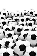 Muitas bolas de futebol, fundo branco