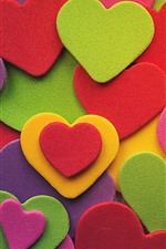 Preview iPhone wallpaper Many love hearts, colorful