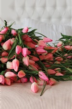 Preview iPhone wallpaper Many pink tulips, plastic flowers, sofa