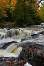 Preview iPhone wallpaper Michigan, Bond Falls, river, trees, autumn, USA