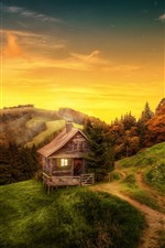 Preview iPhone wallpaper Mountains, hut, trees, autumn, clouds, dusk, slope